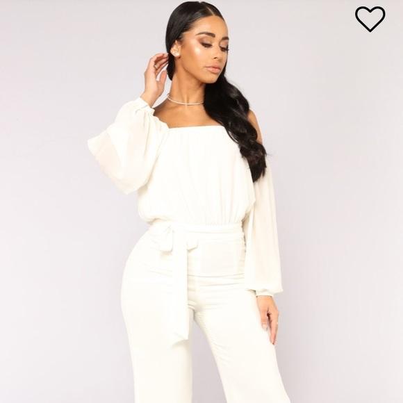 Fashion Nova Pants Ivory Romper Jumpsuit Poshmark